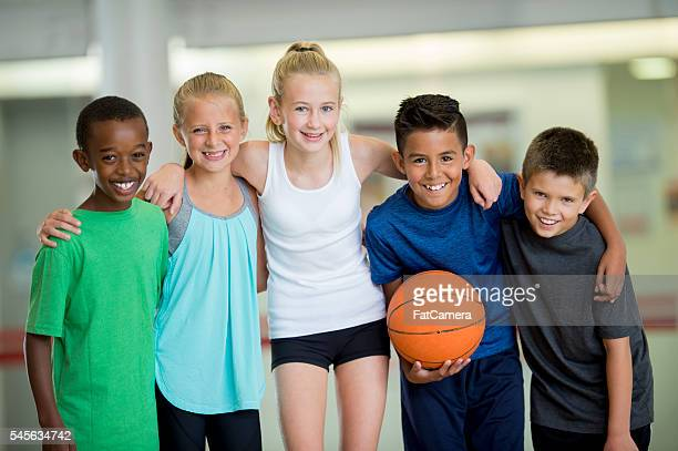 Group Picture After a Basketball Game