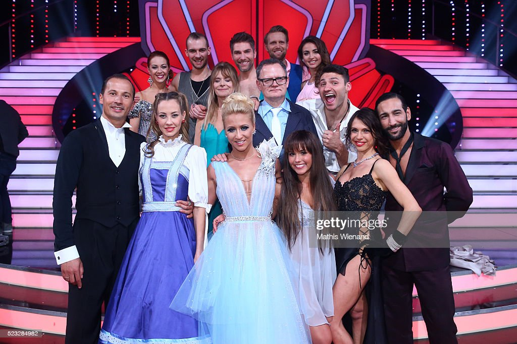 A group picture of all celebrities and their professional dancers after the 6th show of the television competition 'Let's Dance' on April 22 2016 in...