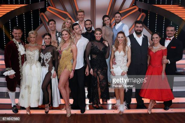 Group picture of all competitors on stage after the 6th show of the tenth season of the television competition 'Let's Dance' on April 28 2017 in...