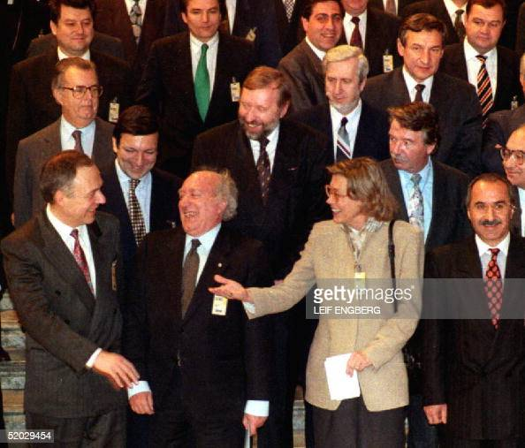 Group picture of CSCE meeting 14 December 1992 in Stockholm At Russian Foreign Minister Andrei Kozyrev chatting with Swedish counterpart Margaretha...