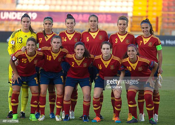 A group picture of Spain before the UEFA Women's Under19 European Championship group stage match between U19 Spain and U19 Germany at Rishon LeZion...