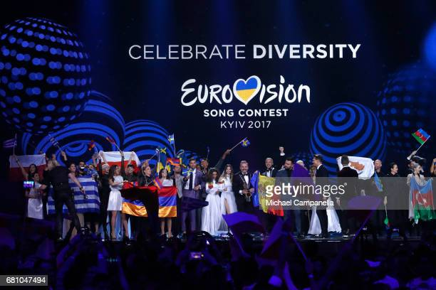 Group picture of the SemiFinal 1 Winners during the first semi final of the 62nd Eurovision Song Contest at International Exhibition Centre on May 9...