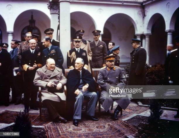 Group portrait of Allied leaders at the Yalta Conference held at the Livadia Palace Livadiya Soviet Union February 1945 Seated are from left British...