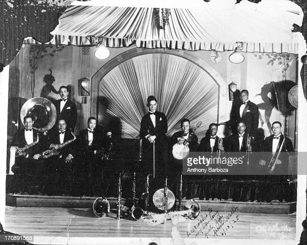Group portrait of an unidentified jazz band as they pose on a stage in Harlem New York New York June 25 1925