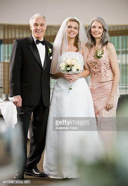 Group portrait of bride with parents