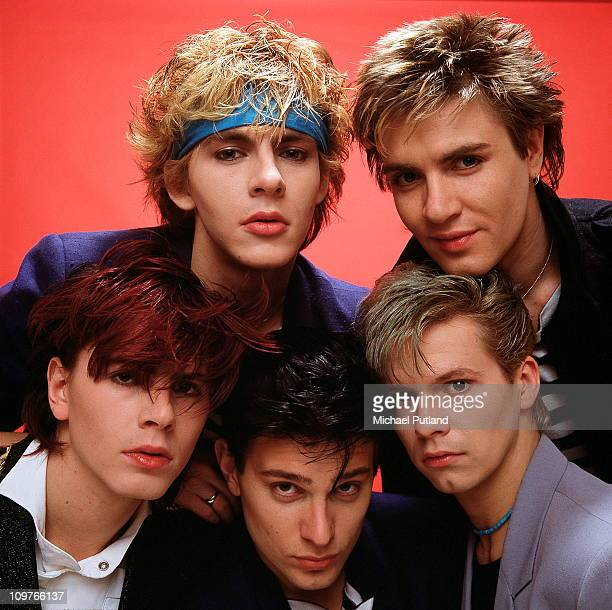 Group Portrait of British band Duran Duran in London England in 1981 Left to right are keyboard player Nick Rhodes singer Simon Le Bon bassist John...