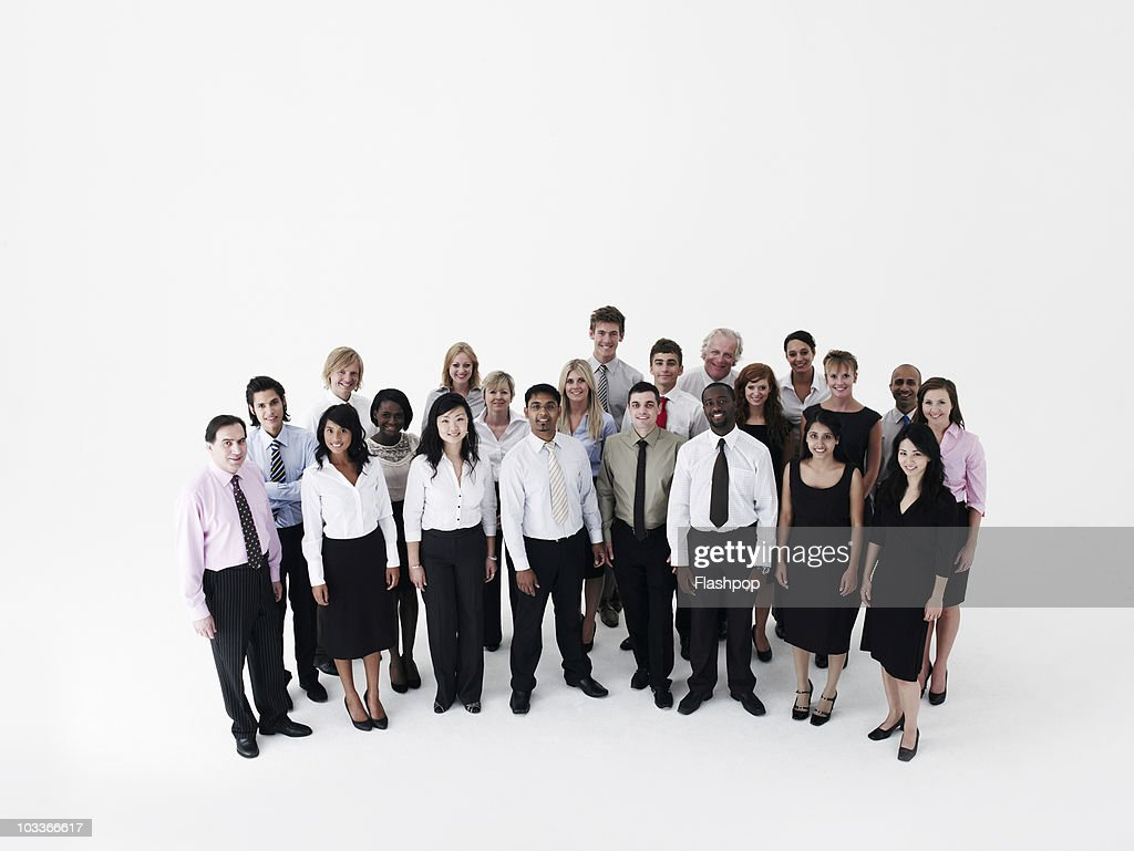 Group portrait of business people smiling : Stock Photo