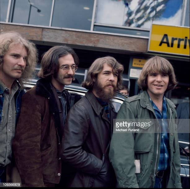 A group portrait of Creedence Clearwater Revival at Heathrow Airport London 7th April 1970 LR Tom Fogerty Stu Cook Doug Clifford John Fogerty