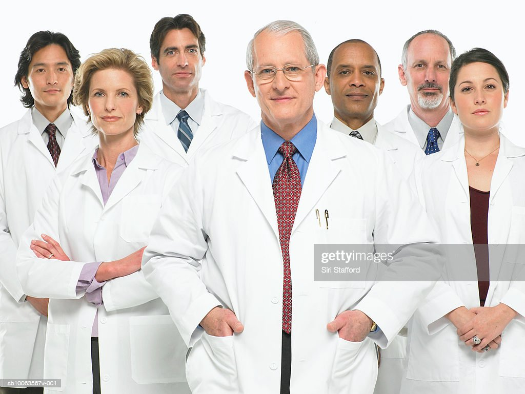 Group portrait of doctors on white background : Stock Photo