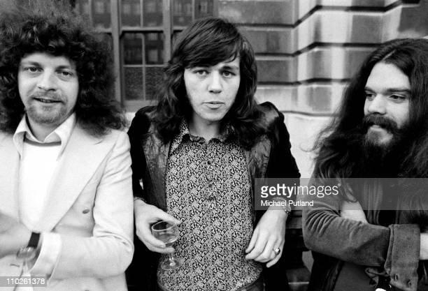 A group portrait of Electric Light Orchestra ELO 25th April 1972 LR Jeff Lynne Bev Bevan Roy Wood