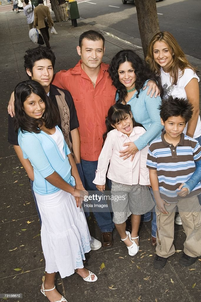 Group portrait of family in urban setting, Los Angeles, California : Stock Photo