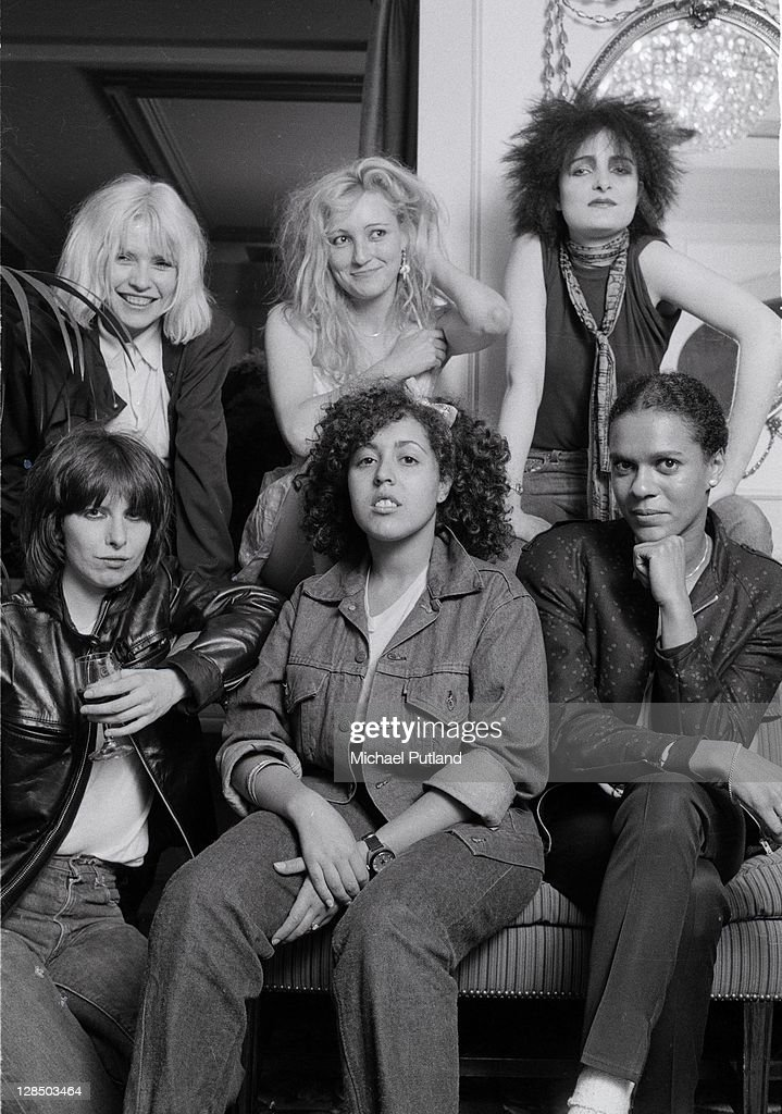A group portrait of female punk and new wave musicians in London, August 1980, L-R (back) <a gi-track='captionPersonalityLinkClicked' href=/galleries/search?phrase=Debbie+Harry&family=editorial&specificpeople=209145 ng-click='$event.stopPropagation()'>Debbie Harry</a> of Blondie, Viv Albertine of The Slits, <a gi-track='captionPersonalityLinkClicked' href=/galleries/search?phrase=Siouxsie+Sioux&family=editorial&specificpeople=714537 ng-click='$event.stopPropagation()'>Siouxsie Sioux</a> of Siouxsie And The Banshees, (Front) <a gi-track='captionPersonalityLinkClicked' href=/galleries/search?phrase=Chrissie+Hynde&family=editorial&specificpeople=211565 ng-click='$event.stopPropagation()'>Chrissie Hynde</a> of The Pretenders, Poly Styrene of X-Ray Spex, and Pauline Black of The Selecter.