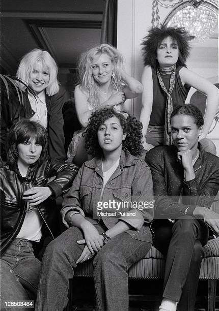 A group portrait of female punk and new wave musicians in London August 1980 LR Debbie Harry of Blondie Viv Albertine of The Slits Siouxsie Sioux of...