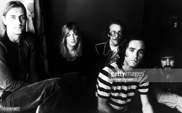 Group portrait of Fleetwood Mac London September 1973 LR Mick Fleetwood Christine McVie Bob Welch Bob Weston John McVie