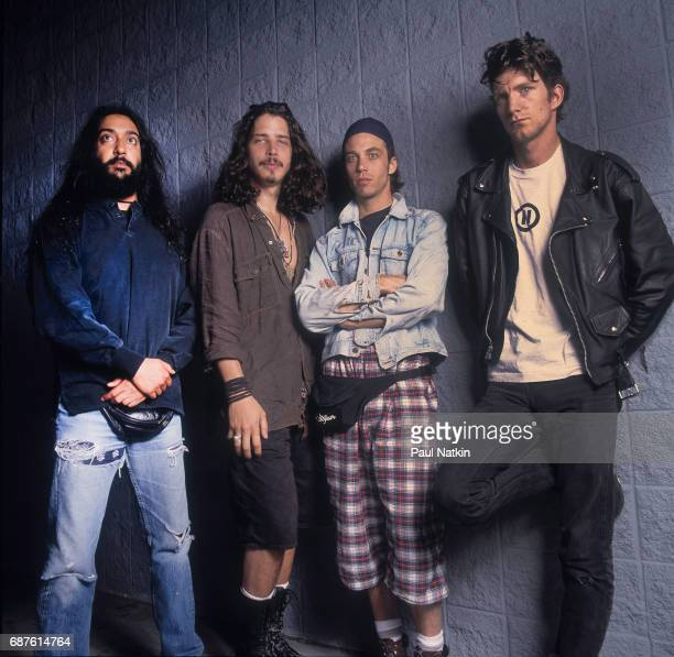 Group portrait of members of the Rock band Soundgarden as they pose at the World Music Theater Tinley Park Illinois August 2 1992 Pictured are from...