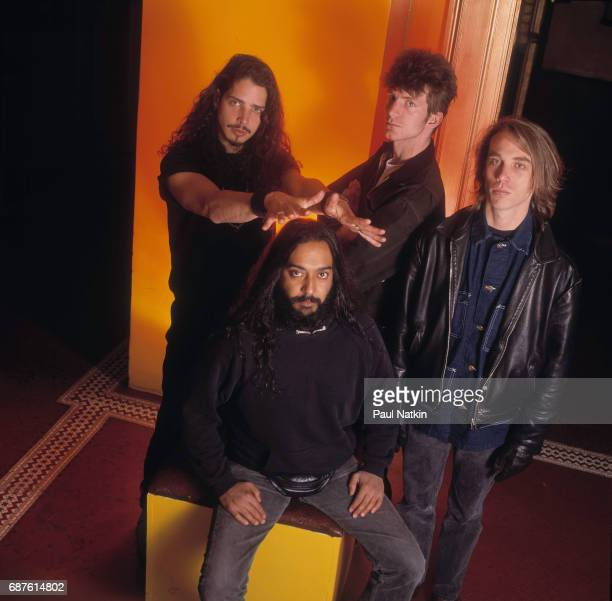 Group portrait of members of the Rock band Soundgarden as they pose at the Vic Theater Chicago Illinois November 8 1991 Pictured are standing from...