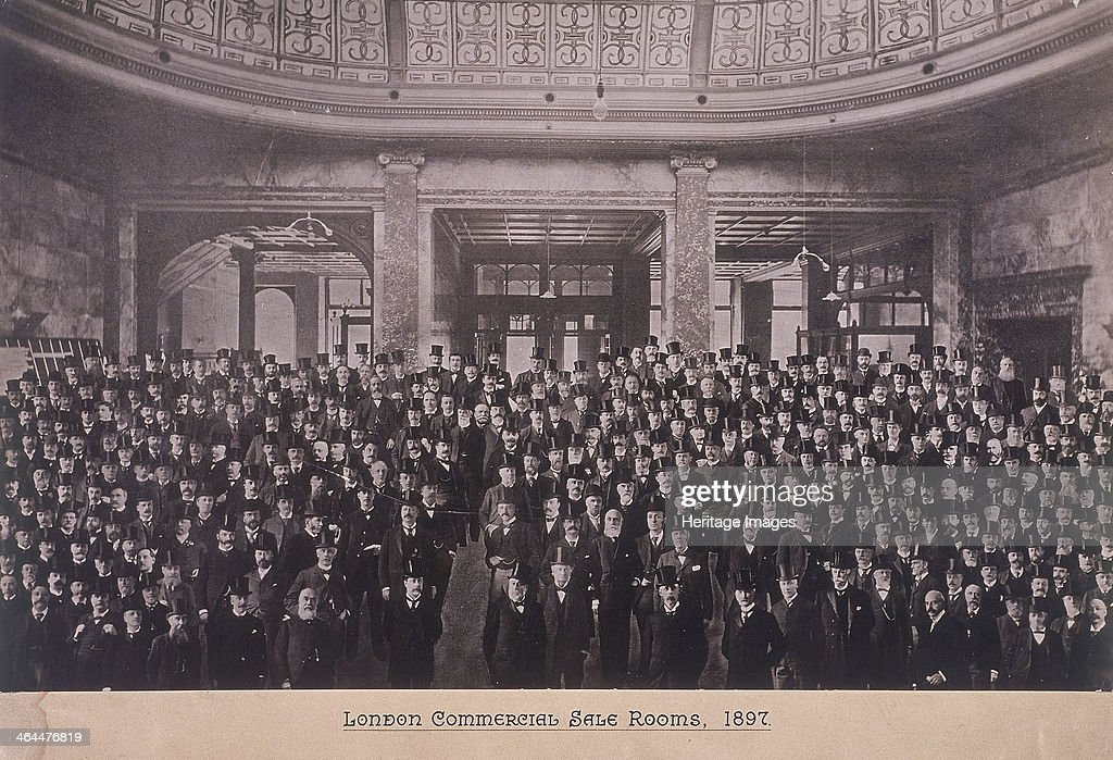 Group portrait of men in the London Commercial Sale Rooms Mincing Lane London 1897