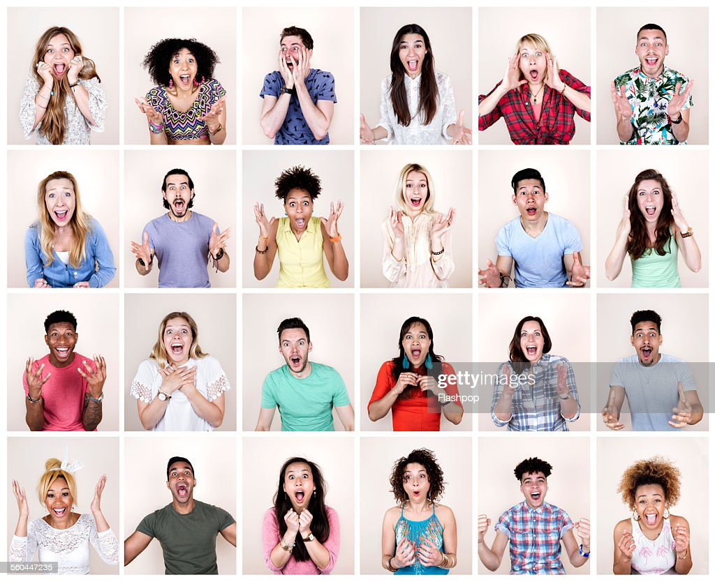 Group portrait of people looking surprised : Stock Photo