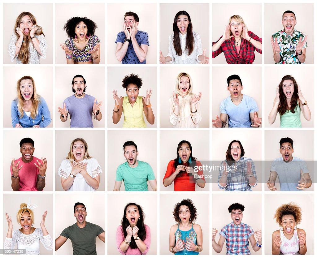Group portrait of people looking surprised
