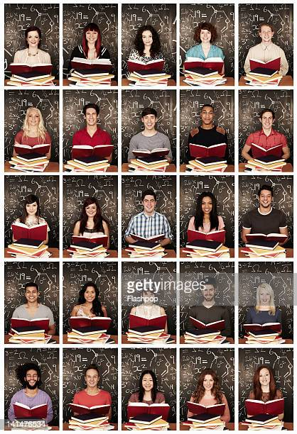 Group portrait of people reading books