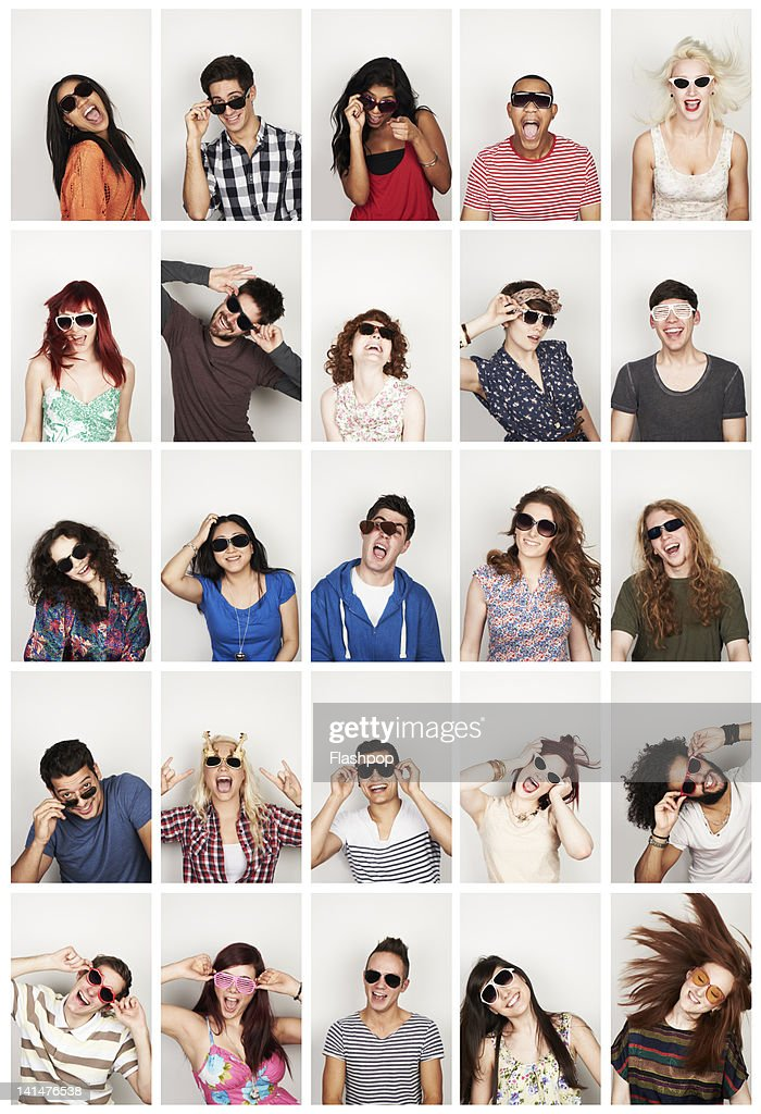 Group portrait of people wearing sunglasses : Stock Photo