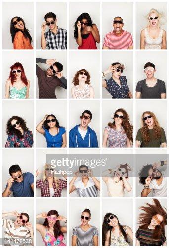 Group portrait of people wearing sunglasses : Foto de stock