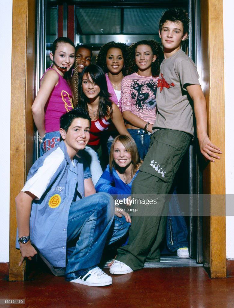 Group portrait of S Club Juniors backstage at a TV show London circa 2002 Left to right Daisy Evans Jay Asforis Frankie Sandford Rochelle Wiseman...
