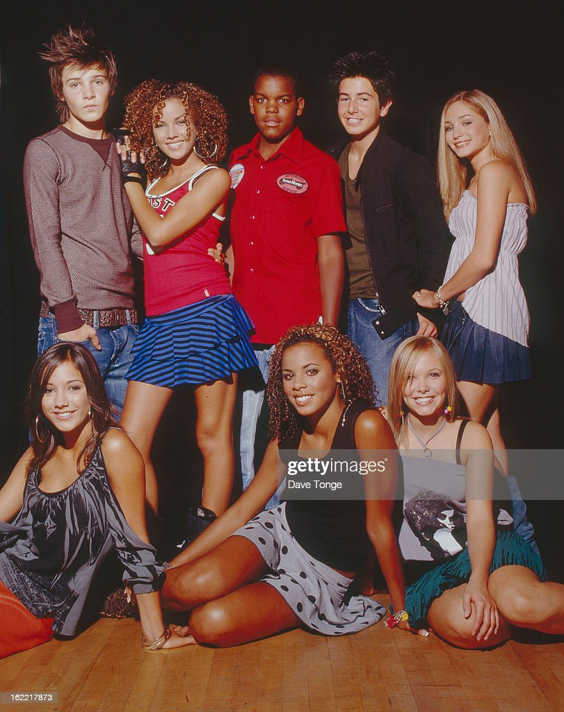 Group portrait of S Club Juniors backstage at a TV show London circa 2003 Left to right Calvin Goldspink Stacey McClean Jay Asforis Aaron Renfree...