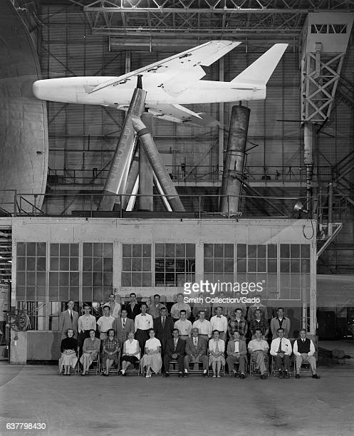 Group portrait of staff of NASA/NACA Full Scale Tunnel at Langley Research Center including several 'human computers' LR Row 1 Virginia Taylor...