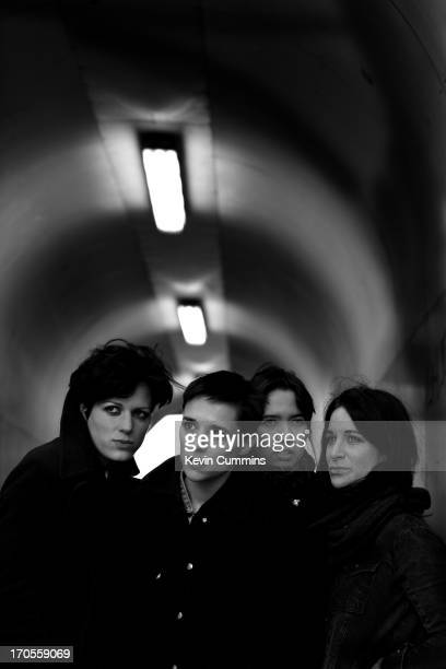A group portrait of the band Savages in Balham London on 5th April 2013 Left to right guitarist Gemma Thompson singer Jehnny Beth bassist Ayse Hassan...