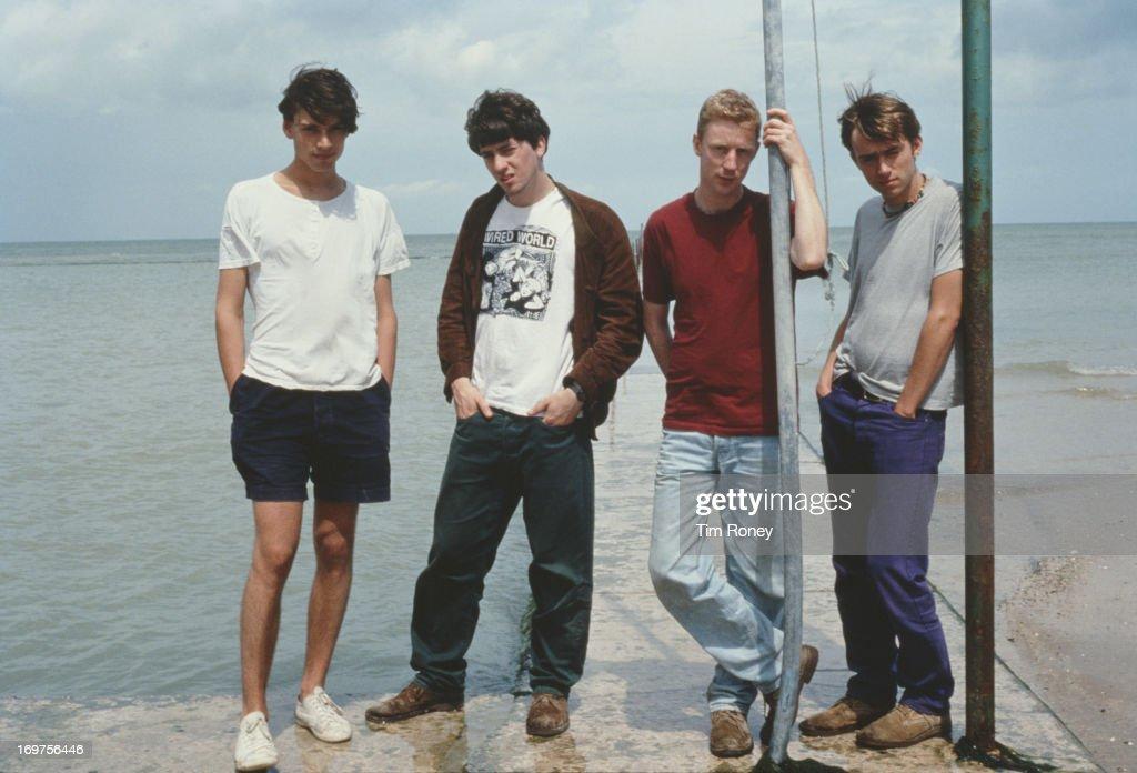 Group portrait of the British band Blur, circa 1996. L - R; Alex James, Graham Coxon, Dave Rowntree, Damon Albarn.