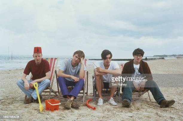 Group portrait of the British band Blur circa 1996 L R Dave Rowntree Damon Albarn Alex James Graham Coxon