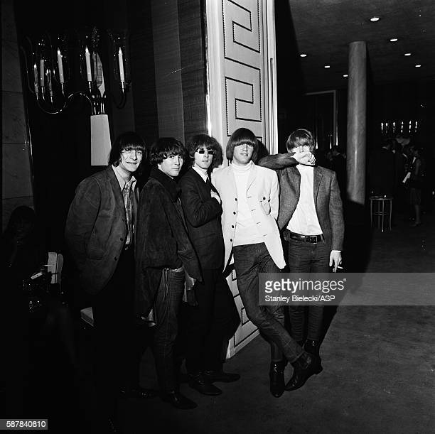 Group portrait of The Byrds at a London hotel 1965 LR Gene Clark David Crosby Roger McGuinn Michael Clarke Chris Hillman