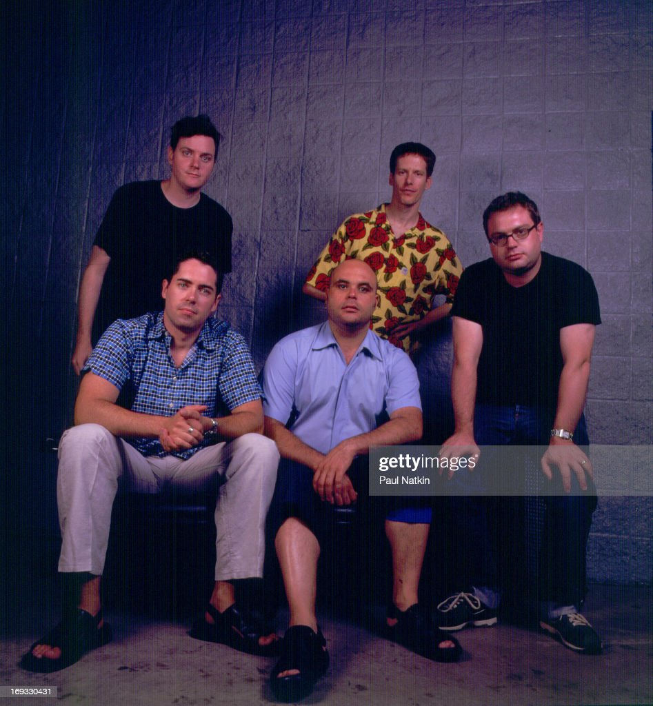 Group portrait of the Canadian rock band the Barenaked Ladies Chicago Illinois August 24 2001 Pictured are front row from left Ed Robertson Tyler...
