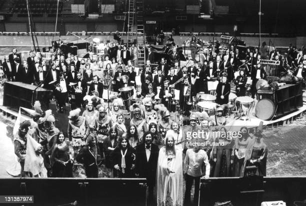 A group portrait of the cast crew and band members for Rick Wakeman's King Arthur on Ice stage show Wembley Empire Pool London May 1975