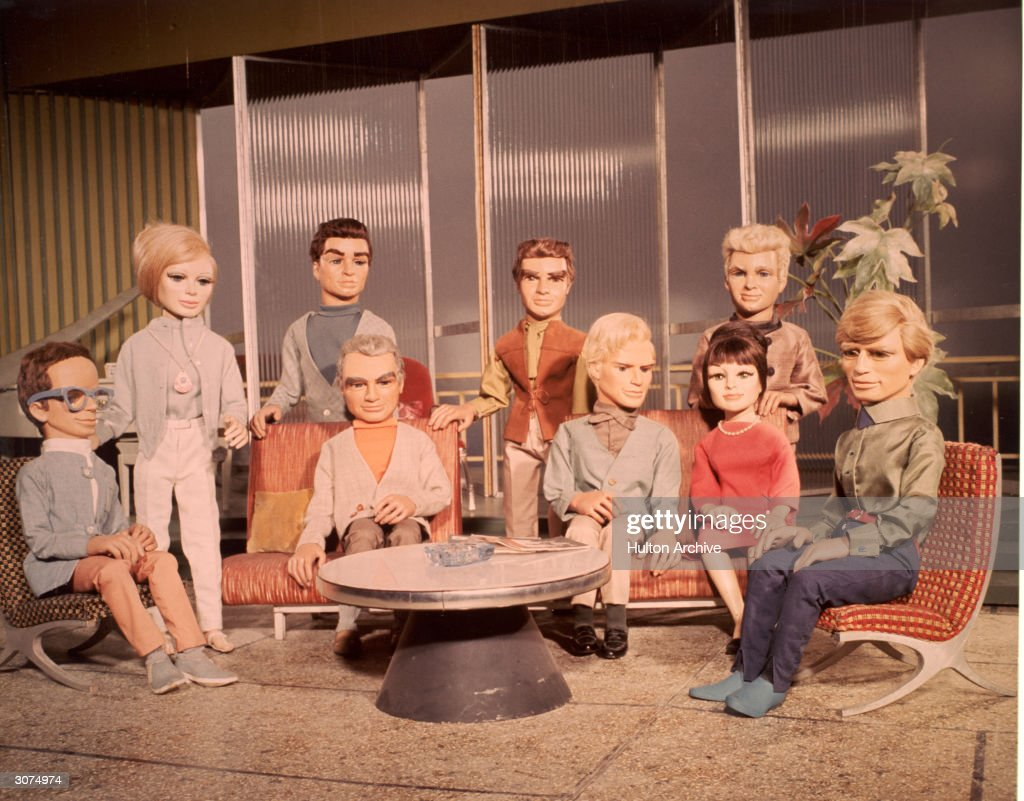 Group portrait of the cast of marionette actors from the television science fiction series, 'Thunderbirds,' circa 1965.