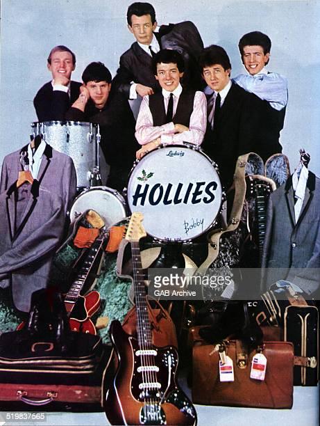 Group portrait of The Hollies with their road manager 1964 LR Bobby Elliott Eric Haydock Allan Clarke Tony Hicks Graham Nash