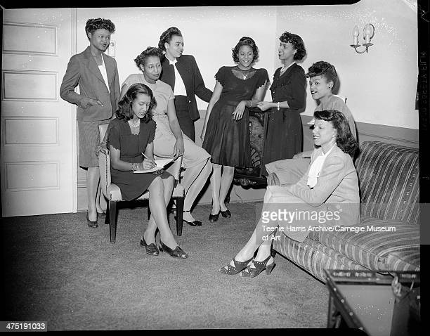 Group portrait of the Ivy Leaf Club of Alpha Kappa Alpha sorority from left standing Shirley Jefferson Lois Thompson Irene Cleveland Bernice Carl...