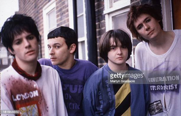 Group portrait of the Manic Street Preachers at Martyn Goodacre's flat Old Kent Road London January 1991 LR Richey Edwards James Dean Bradfield Sean...