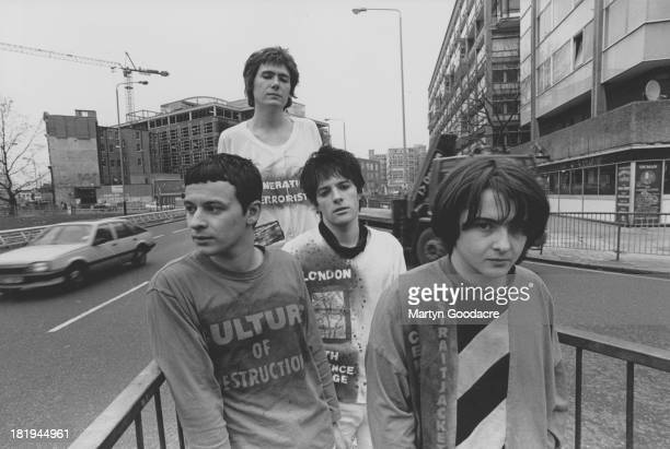 Group portrait of the Manic Street Preachers Elephant Castle roundabout London 1990 LR James Dean Bradfield Nicky Wire Richey Edwards and Sean Moore