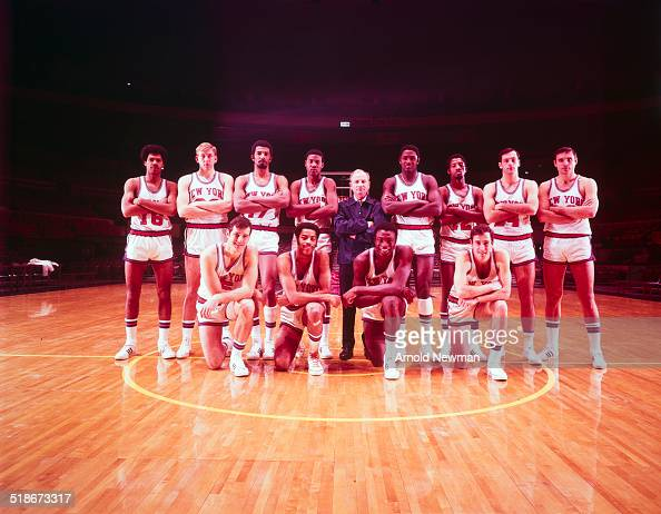 Group portrait of the New York Knicks basketball team New York December 4 1969 Pictured are front row from left Don May Walt Frazier Cazzie Russell...