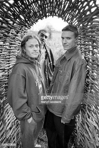 Group portrait of the Prodigy LR Keith Flint Leeroy Thornhill and Liam Howlett Essex United Kingdom 1994