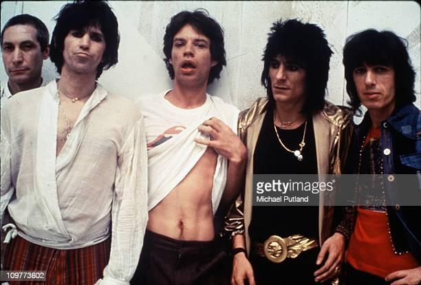 Group portrait of the Rolling Stones in New York City in May 1978 Left to right are drummer Charlie Watts guitarist Keith Richards singer Mick Jagger...
