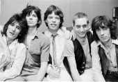 Group portrait of the Rolling Stones in New York City in May 1978 Left to right are guitarist Ronnie Wood Keith Richards singer Mick Jagger drummer...
