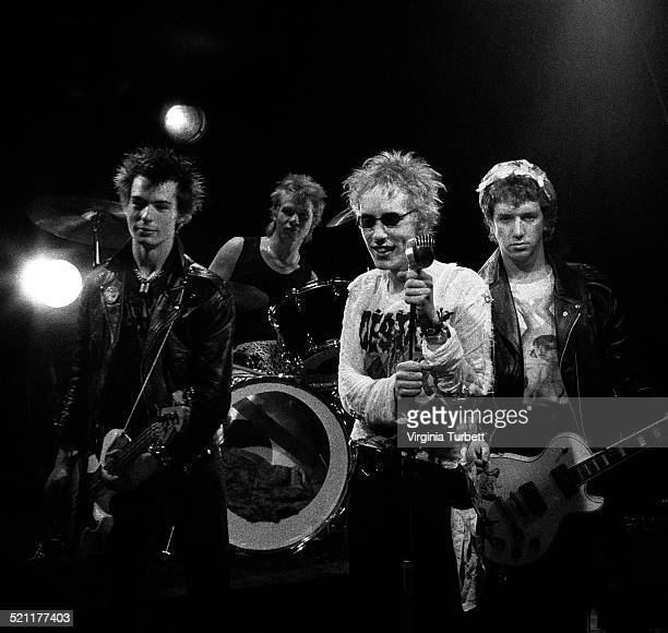 Group portrait of the Sex Pistols recording a video for their song 'Pretty Vacant' London June 1977 LR Sid Vicious Paul Cook Johnny Rotten Steve Jones