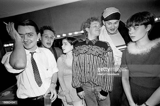 Group portrait of The Sugarcubes backstage in Paris with Bjork third from left France 1990