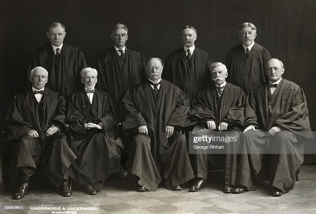 Group portrait of the US Supreme Court with William Howard Taft twentyseventh President as Chief Justice Seated are James C McReynolds Oliver Wendell...