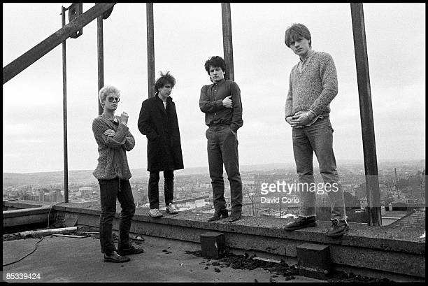 Group portrait of U2 on the roof of the Cork Country Club Hotel Cork Ireland March 2 1980 LR Adam Clayton The Edge Bono and Larry Mullen Jnr