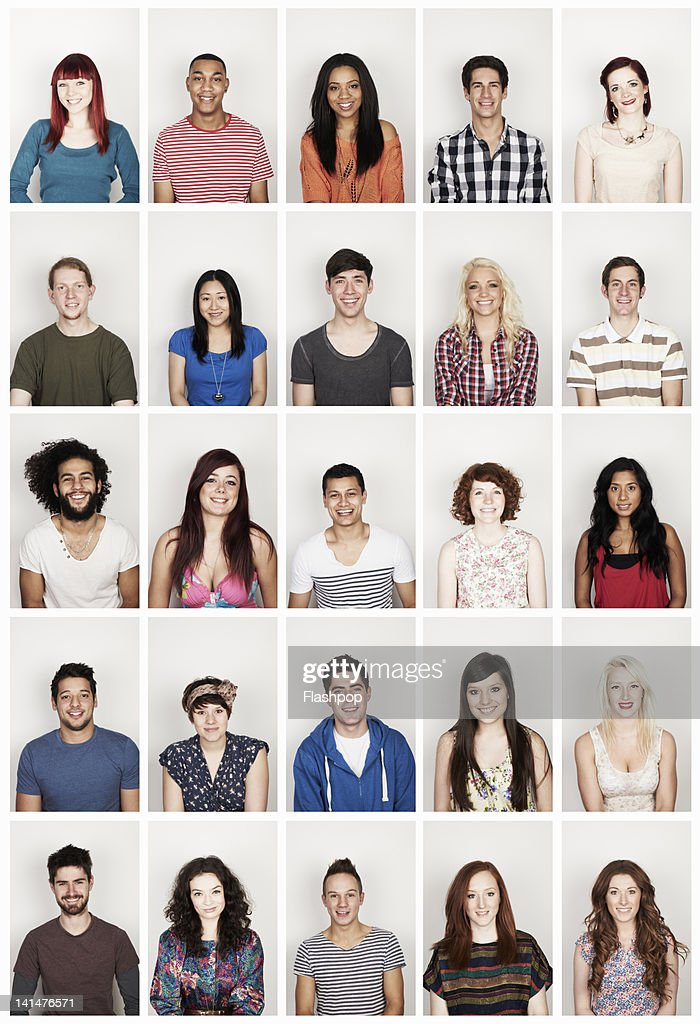 Group portrait of young men and women : Stock Photo