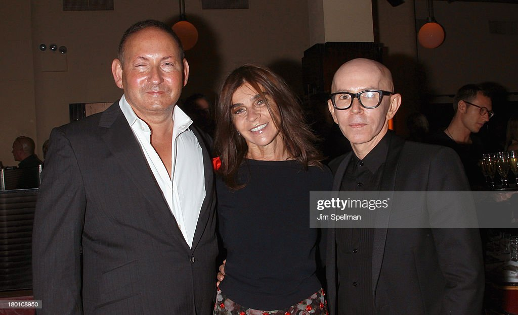 Group President, The Estee Lauder Companies Inc John Demsey, Editor-In-Chief of Vogue Paris Carine Roitfeld and MAC creative Director James Gager attend 'M·A·C Antonio' Collection Launch Event at The Odeon on September 8, 2013 in New York City.